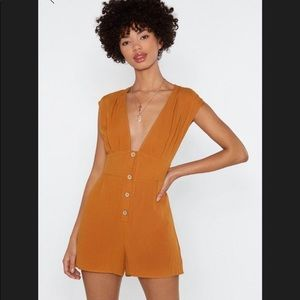 Linen Plunging Button Down Romper Nasty Gal New